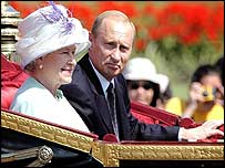 President Putin in open-topped carriage with Queen Elizabeth