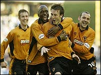 Lee Naylor celebrates his winning goal