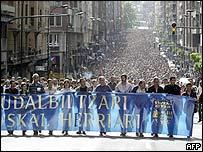 Batasuna supporters protest in Bilbao