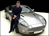 Pierce Brosnan with the James Bond Aston Martin Vanquish