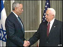 Colin Powell and Ariel Sharon