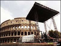 Stage outside Rome's Colosseum
