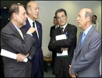 Solana, Giscard D'Estaing, Romano Prodi, Greek President Simitis