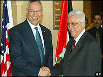 US Secretary of State Colin Powell (left) and Palestinian Prime Minister Mahmoud Abbas, widely known as Abu Mazen