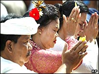 Balinese Hindus pray in a purification ceremony
