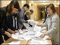 Election Commission workers count votes