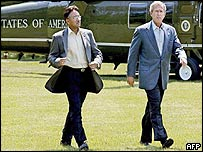 General Musharraf and George W Bush at Camp David, Maryland