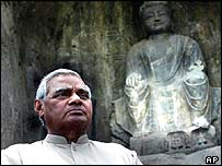 Mr Vajpayee at Longmen grottoes, Henan province