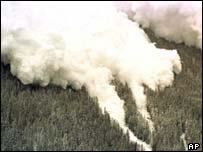 An avalanche roars down a mountainside, AP