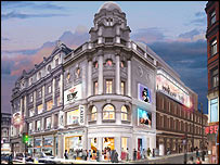 Artist's drawing of  Queen's, Gielgud and Sondheim theatre block, Shaftesbury Avenue