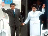 President Roh and his wife arriving at JFK airport in New York
