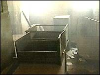 Room in police station where four soldiers died
