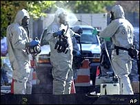 Hazardous materials workers outside Capitol Hill in Washington DC during the anthrax attacks of October 2001