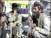 A Pakistani tribal troop with an Afghan fighter - 2001
