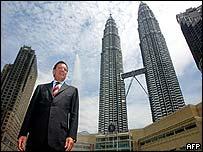 German Chancellor Gerhard Schroeder at Petronas Towers, Kuala Lumpur