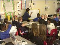 Primary school children with teacher