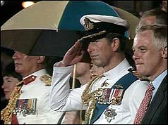 The Prince of Wales and Governor Chris Patten at the ceremony