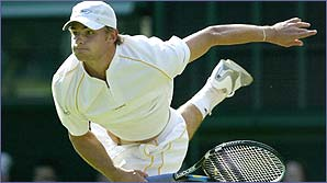 Andy Roddick in action at Wimbledon