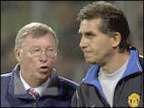 New Real Madrid coach Carlos Queiroz with his former boss and Man Utd manager Sir Alex Ferguson