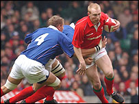 Tom Shanklin in action for Wales
