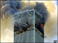 North Tower, World Trade Center, burns on 11 September 2001