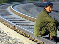 A worker on the Qinghai-Tibet railroad