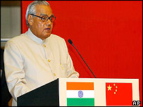 Indian PM Vajpayee at Shanghai conference