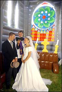 A wedding ceremony in the church