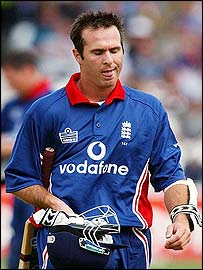 Michael Vaughan trudges off after another failure for England