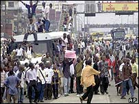 Students protesting against the fuel price rise in Lagos, 25 June 2003