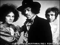 Noel Redding (left) with Jimi Hendrix and Mitch Mitchell
