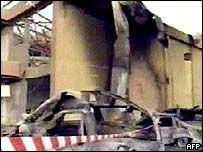 Picture of damaged building from Abu Dhabi TV