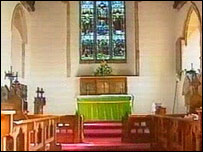 Internal view of church in Aston Cantlow, Warwickshire