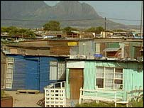 Shanty housing in Cape Town