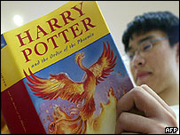 Potter fan reading book