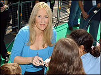 JK Rowling signing autographs