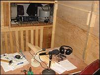 Wooden radio studio in Baghdad