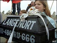 Anti-abortion protesters hold a small symbolic coffin with the name of the Langenort abortion-right ship