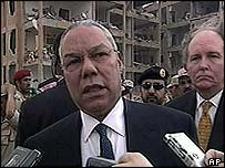 US Secretary of State Colin Powell visits the site of one of the suicide car bomb attacks in Riyadh