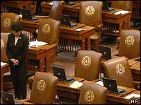Republican senator stands in deserted Texas House of Representatives