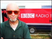 Michael Eavis and a BBC Radio 1 truck