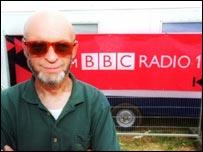 Michael Eavis and a BBC Radio 1 truck