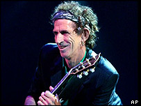 Keith Richards on stage in Hartford, Connecticut, in the US, October 2002