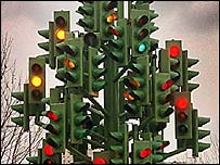 Traffic light tree, Docklands, London, Press Association