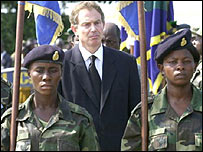 British Prime Minister Tony Blair in Sierra Leone