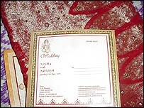 Nisha's wedding sari and invite
