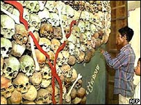 Skulls of victims of the Khmer Rouge regime