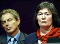Clare Short and Tony Blair, Labour conference 2002