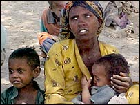 Ethiopian woman and two children
