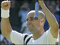 Andre Agassi celebrates victory
